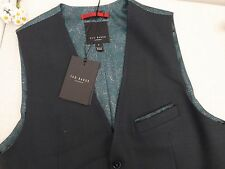 BNWT Ted Baker Dark Green Baywai Textured Pattern Waistcoat size 2 S