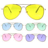 Oceanic Color Lens Classic Metal Rim Aviator Sunglasses