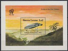 Sierra Leone 1983 ** bl.17 AVIAZIONE AVIATION manned Balloon Flight [st1587]