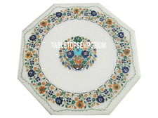 "18"" White Marble Coffee Table Top Marquetry Hakik Inlay Floral Interior Decor"
