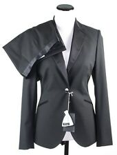 Women's KITON Italy Black Formal Wool Flat Front Pant Suit M 8 EU 44 NWT $2295