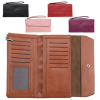 Ladies Womens Large RFID Blocking Soft Faux Leather Organiser Purse Wrist Strap