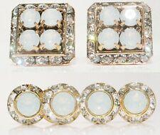 New Color! White Opal Cufflinks & Studs Tuxedo Set Made W/Swarovski Crystals