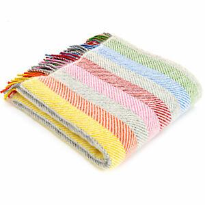 TWEEDMILL TEXTILES 100% Wool Sofa Bed Blanket Rug RAINBOW GREY STRIPE THROW