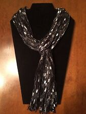 Scarf Black Yarn Necklace Handmade ladder ribbon trellis