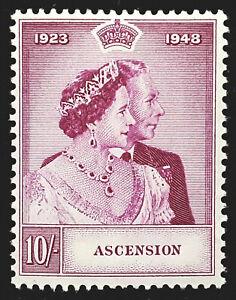 Ascension Stamp 1948 10/- Royal Silver Wedding Scott # 53 SG51 MINT OG H