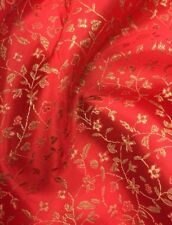 Brocade Chinese  Small floral blossom oriental asian  Red  / Golden Fabric