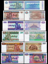 Myanmar(Burma) 1+5+10+20+50+100Kyats BrandNew Banknotes set 6PCS