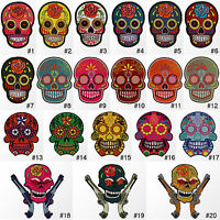 #3500R Rose Flower Sugar Skull Tattoo Biker Embroidered Sew Iron on Patch Badge