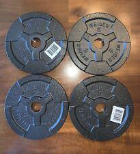 """4x 5 lb. Standard Grip Barbell Dumbell 1"""" Weight Plates Cap Weider Set 4 = 20 Lb"""