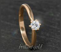 Brillant 585 Gold Damen Ring mit 0,26ct; Si1; Solitärring mit DGI Zertifikat NEU