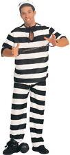 Adult Inmate Prisoner Convict Halloween Costume Mens Jailbird Stripes One Size