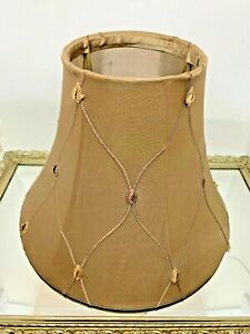 Aspen Creative Bell Shape Lamp Shade Taupe Gold Embroidered Nylon Faux Silk UNO