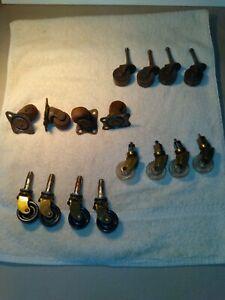 LOT of 4 sets of 4 casters, 2 sets antique, 2 sets merely vintage, carpenter