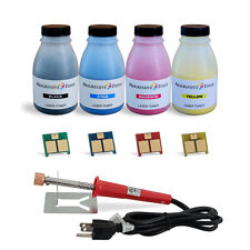 4 Color Toner Refill Kit with 4 Chips and Tool for HP CP1215 CP1515 CP1518 125A