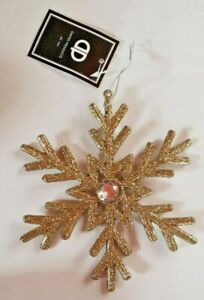 Christmas Large 15cm Champagne Glitter Snowflake Tree Hanging Party Decoration