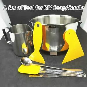 DIY Candle Soap Making Tools Kit Wax Melting Pot Mixing Spoon Tweezers Mug Set