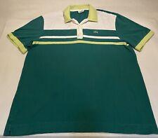Vtg Lacoste Sz 7(XL) 3 Color Green Rugby 100% Cotton Polo Shirt Unique Design