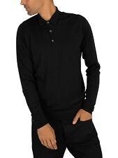 John Smedley Men's Cotswold Longsleeved Polo Shirt, Black