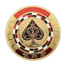 Metal Poker Guard Card Protector Coin Chip Gold Plated + Round Plastic Case