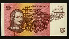1985 Australian Johnston Fraser Gothic $5 Error Note