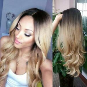Ombre Blonde Wig Long Wavy Curly Wig Synthetic Party Wigs for Women
