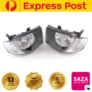 Pair of Headlights with Clear Indicators for Mitsubishi Triton MN 2009-2014