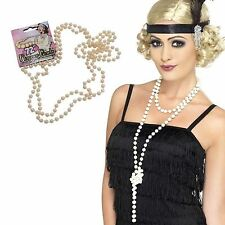 "Gatsby Pearl Necklace Moll Flapper Beads 72"" 1920s Fancy Dress Costume Accessory"