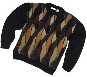 Bachrach Black Texture Front Medium  Mens Pullover Acrylic Sweater USA Vintage