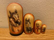 Russian Nesting Dolls Horses 4 pieces! Beautiful Set