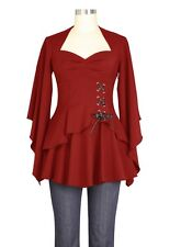 Chic Star Gothic Layered Corset Detailed Long Sleeved Top UK Sizes 6 to 28 Plus 26 Red