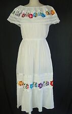 One Size M-XL Mexican Fiesta Peasant Folk Floral Embroidered White Cotton Dress