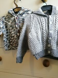 2 x Baby Boy Handmade Wool Knitted Hooded Cardigans Approx 6-9 months