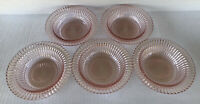"Pink Depression Glass Queen Mary (5) Dessert Berry Bowls 6"" Anchor Hocking"