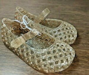 New Girls Old Navy Toddler Gold Glitter Basketweave Jelly Sandals Size 5