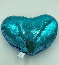 "Blue Purple Sequin Pillow 15"" Heart Cushion Reversible Plush J"