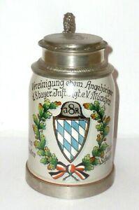 Antiguo Jarra de Reservista Ir 8 Metz München Alsacia Krug Cerveza Chopes