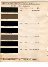 1935 1936 1937 PLYMOUTH 35 36 37 COLORS PAINT CHIPS 353637 SHERWIN WILLIAMS