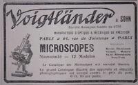 PUBLICITÉ DE PRESSE 1908 MICROSCOPES VOIGTLANDER - ADVERTISING