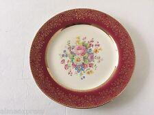 "Aristocrat Maroon (Floral Center) Century Salem Gold Filigree - 10"" DINNER PLATE"