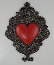 Mexican Handmade Tin Heart Wall Hanging Punched Metal Folk Art Filigree # 31