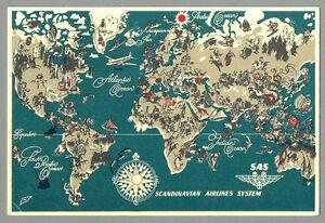 1950 SAS Scandinavian Airlines International Flights Advertising LOGO Postcard