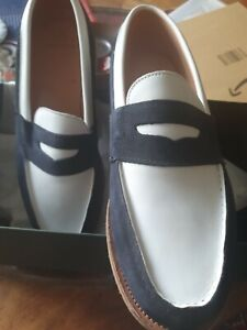 Alfred Sargent Exclusive LOAFERS , Size 8 Black suede and white leather seconds