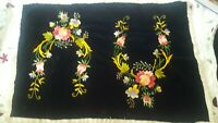 2 Vintage Embroidered Placemats Soft Black Cloth