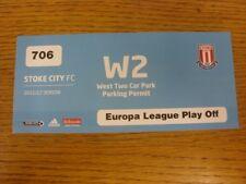 25/08/2011 billet: Stoke City v FC THUN [UEFA Europa League] W2 parking stationnement