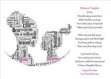 Son Daughter MUM Birthday Christmas Day Poem Personalised Word Art Gift Keepsake
