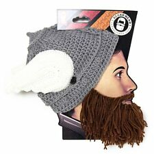Thor Helmet Brown Thermal Knit Beard Ski Face Mask With Wings Winter Beanie Hat