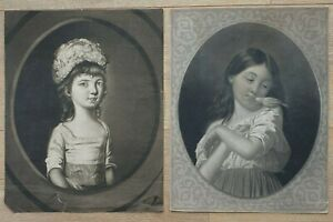 """Antique Early 19th Century pair of Portraits of little girls 12½"""" x 10"""" fair"""