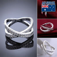 Classic 925 Sterling Silver Filled Clear Crystal Infinity Band Ring Party