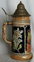 Vintage Beer Stein Edelweiss Flower Bar scene with DBGM stamped Lid 23 cm high